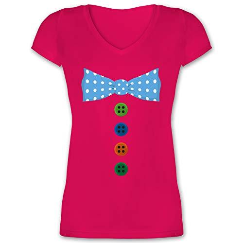 Karneval & Fasching - Clown Kostüm Blaue Fliege - 3XL - Fuchsia - XO1525 - Damen T-Shirt mit V-Ausschnitt