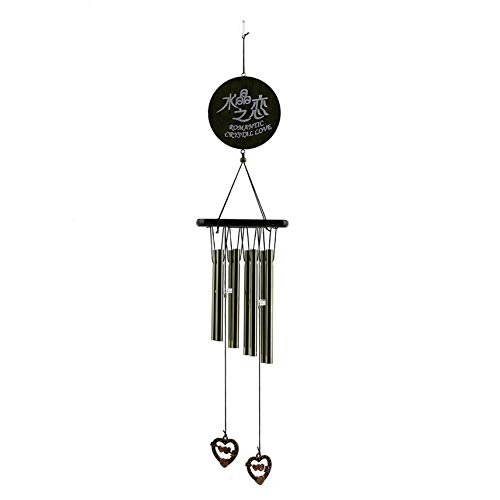 HibiscusElla Amazing Antique Bronze 8 Tubes Wind Chimes Love Heart Pendant Wood Chapel Church Bells Outdoor Garden Home Decoration -