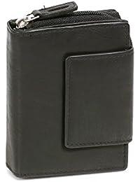 Portefeuille pour femme format portrait LEAS, cuir véritable, noir - ''LEAS Zipper-Collection''