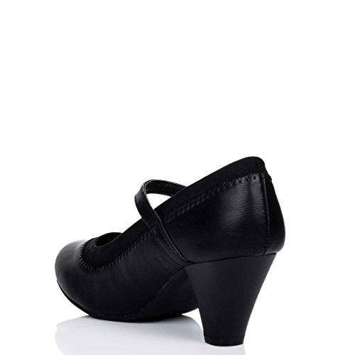 Schuhe Jane Blockabsatz Lexia Damen Schwarz Synthetik Mary Kunstleder Pumps Spylovebuy wxYCgq1tt