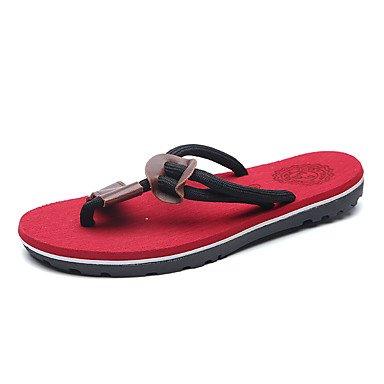 Slippers & amp da uomo;Comfort PU primavera-estate casuale del tacco piatto nastro cravatta Nero Marrone Rosso Wal sandali US10 / EU43 / UK9 / CN44