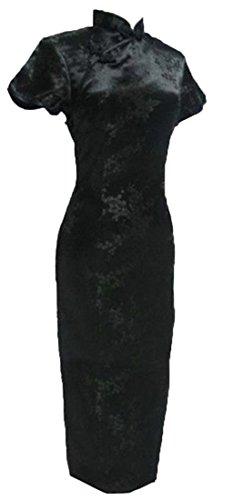 UK Seller Black Cherry Blossom Chinese Long Woman Dress (18)