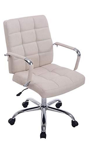 CLP Bürostuhl Deli PRO mit Stoffbezug I Schreibtischstuhl mit Metalldrehkreuz I Chefsessel mit Laufrollen I erhältlich Creme