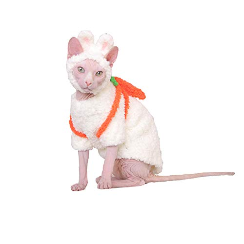 HCYD Cute Bunny Costume Cat Kleidung Sphinx Cat Pet Puppy Kleidung Winter Halloween Kleidung, White, L