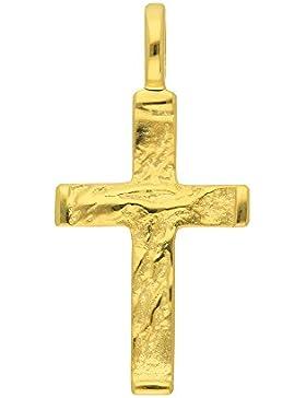 Gold 14 k ( 585 ) Kreuz Anhänger - B. 12,5 mm - H. 19,5 mm