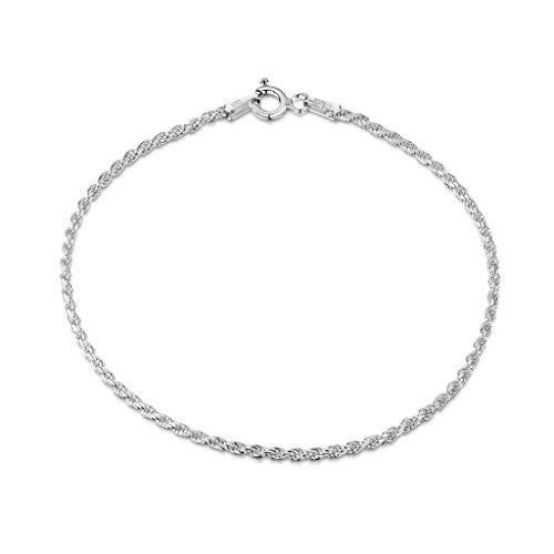 Amberta® Gioielli - Bracciale - Catenina Argento Sterling 925 - Modello Corda - Larghezza 1.5 mm - Lunghezza: 18 19