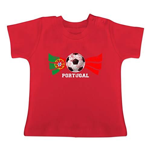 Fett Streifen-baumwoll-shirt (Fußball-Europameisterschaft 2020 - Baby - Portugal Fußball Vintage Streifen - 6-12 Monate - Rot - BZ02 - Baby T-Shirt Kurzarm)