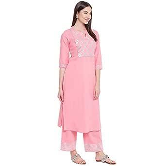 Khushal K Women's Cotton Kurta With Palazzo Set (Light Pink -Small)