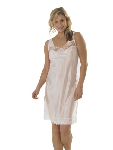 Womens/Ladies Anti Static Full Slip Underskirt Built Up Shoulder With Front & Bottom Lace, Various Sizes & Colours Test