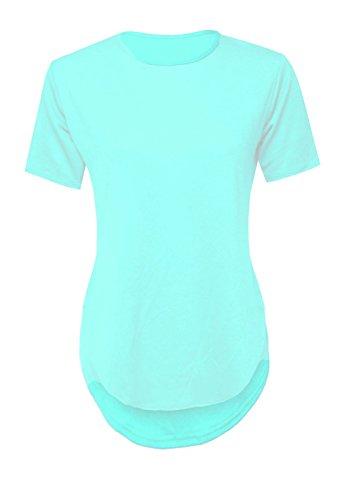 topstylefashion4u New Damen Casual Uni Crepe kurzärmeliges T-Shirt Damen Dip Saum Top 8�?4 Mint