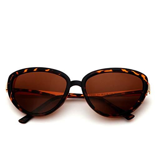 Honneury Polarisierte Sonnenbrille für Frauen übergroße Katze Augen Stil Retro Vintage Sonnenbrille (Farbe : Gradient Frame/Tea Lens)