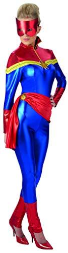 Halloweenia - Damen Frauen Captain Marvel Kostüm in metallic Look mit Schärpe und Maske, perfekt für Karneval, Fasching und Fastnacht, S, Blau (Teen Thor Kostüm)
