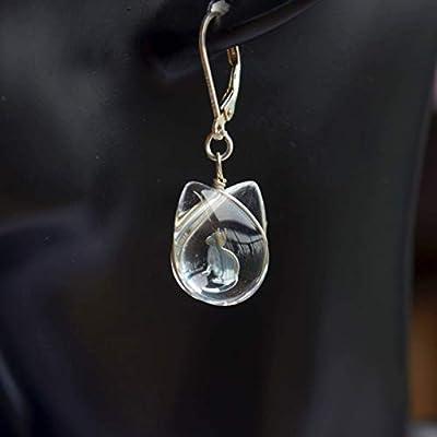 Une Paire Chat Félin Transparent Verre Double Face Argent Sterling 925 Français Boucles d'oreilles pendantes et gouttes