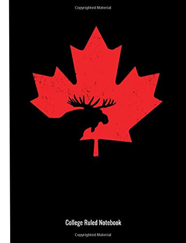 3257c5bd59fd College Ruled Notebook: Canada Maple Leaf Moose Cut Out - 90 Page College  Ruled Composition Notebook