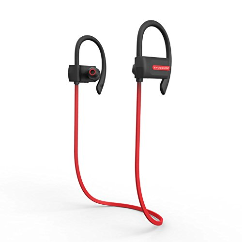Bluetooth Kopfhörer, FIVEPLUSONE Drahtlose Bluetooth 4.1 Kopfhörer Wasserfeste Stereo In-Ear-Kopfhörer Musik mit Sicherheits Ohrbügel für Laufsport iPhone,Samsung und andere Android Bluetooth-Geräte(Wasserschutz IPX 4) (Red)raten rood