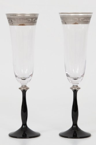 Boheme Cristal Set 6 verres á Champagne Angela, 190 ml avec noir tige, d'argent gravure