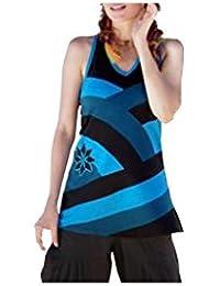 Aller Simplement - T-shirt à panneaux avec fleur brodé TS410A Bleu