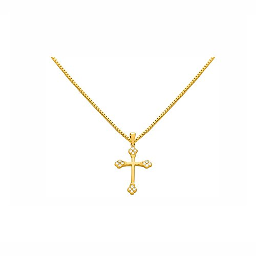 "0.24 Cts Sim Diamond Cross Pendant With 18"" Chain In 14K White Gold Fn Silver"