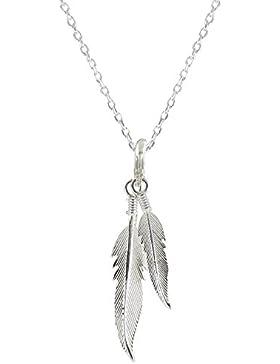 Schmuck Les Poulettes - Sterling Silber Halskette Zwei Feathers