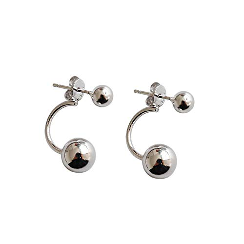 ZNYH S925 Sterling Silber geometrische Glatte Doppelkugel Ohrringe Ohrringe