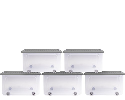 Ondis24 5x Unterbettkommode Rollerbox Unterbettbox Rollbox 35L blau-transparent
