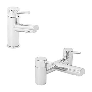 Aquariss Modern Bathroom Chrome Lever Mono Basin Sink Tap & Bath Filler Mixer Dual Twin Double Taps Pack