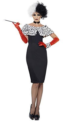 Smiffys, Damen Böse Madame Kostüm, Kleid mit Handschuhen, Handgelenkmanschette, Halsband und Schulterüberwurf, Größe: L, 44-46 (Dalmatiner Kostüm Für Erwachsene)