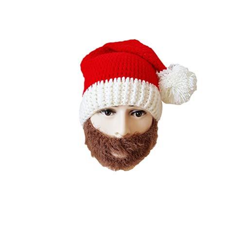 BESTOYARD Weihnachtsmann Mütze rot Strickmütze lustige Erwachsene Bart Hüte für Weihnachten für Männer Frauen (braun)