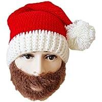 BESTOYARD Gorro de Santa Claus Sombrero de Punto Rojo Sombreros de Barba Adultos Divertidos para Navidad para Hombres Mujeres (Marrón)