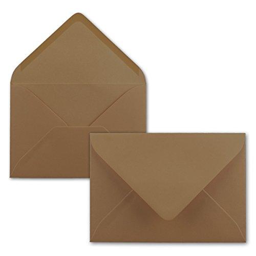 50 Brief-Umschläge - Kastanien-Braun - DIN C6-114 x 162 mm - Kuverts mit Nassklebung ohne Fenster für Gruß-Karten & Einladungen - Serie FarbenFroh® - Kastanien-serie