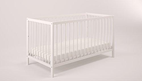 POLINI Kids simple 101Lit à barreaux lit bébé blanc en bois naturel, 3022–04