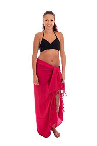 Premium Sarong Pareo Wickelrock Strandtuch Lunghi Dhoti Schlicht Blickdicht Einfarbig Uni Pink PP