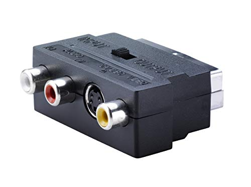 KTX7® Scart Adapter auf 3X Chinch Buchse mit Umschalter - Scart Stecker/Audio - Video - S-Video S-video Audio