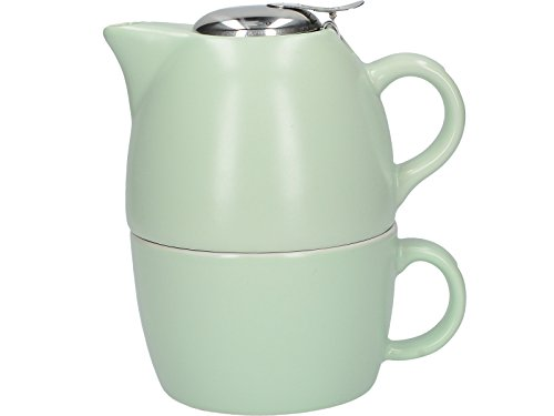 La Cafetière Barcelone Collection Thé pour Une Personne de Tasse de thé et théière en céramique – Vert Pistache