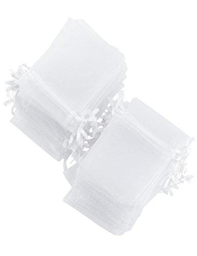 FiveSeasonStuff Weiß Organza Taschen Beutel für Hochzeit Bevorzugungen Geschenk Schmuck Geburtstagsfeier Baby Dusche Kunst & Handwerk Geschenk Wrapping Süßigkeiten DIY (7cm x 9cm) Klein - 100 Stück