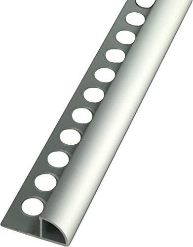 2,5 METER - Höhe: 12,5mm PREMIUM FUCHS Fliesenschiene Viertelkreisprofil Aluminium Eloxiert silber matt - 1mm Stärke - 250cm Schiene