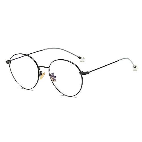 Duhongmei123 Mode Brillen Zarte einfache Perle Gläser für Frauen Klassische Damenbrillen für Studenten dünne Metallrahmen umrandeten Gläser Occhiali (Farbe : Schwarz)