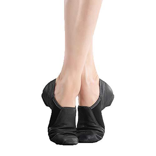 LFEWOX Jazz Schuhe Leder Licht Slip On Dance Schuhe Ballett