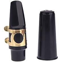 Andoer® Saxo Alto Saxofón Boquilla Plástica con Tapa Hebilla de Metal Negro