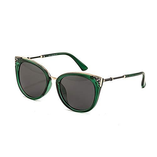 New Italian Tide Brand Sonnenbrillen Fashion Frame Damen Sonnenbrillen Cat Eye Polarized Sonnenbrillen (Color : Green Black)