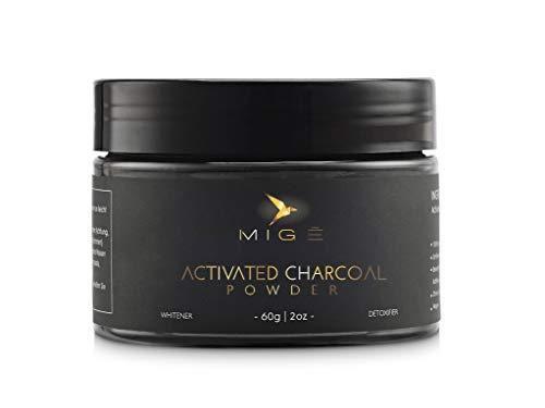 Migē - Aktivkohle Pulver Kokosnuss - natürliche Zahnaufhellung - weiße Zähne - 100% Aktivkohlepulver - Activated Charcoal Teeth Whitening Powder -