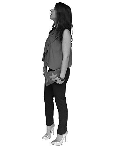 histoireDaccessoires - Pochette Cuir Velours Femme - PO000321U-Nanni Beige