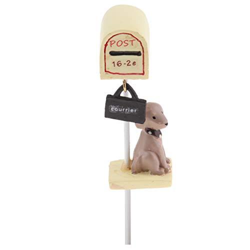 KESOTO Micro Landschaft Blumenstecker mit Süßem Motiv, auch als Geschenk für Kinder als Dollhouse/Miniatue Deko - Hund mit Briefkasten