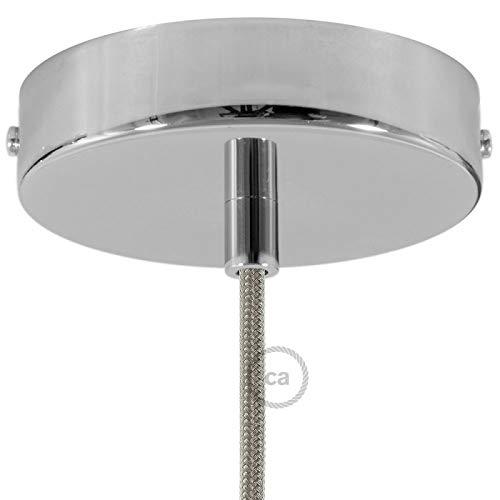 Creative-Cables Kit Baldachin Chrom 120 mm mit zylindrischer Metall Zugentlastung in Chrom. - Runde Baldachin Kit
