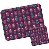 Mauspad und Untersetzer-Set mit niedlichem Print einer Eule mit großen Augen Pink & Purple Pretty Owls