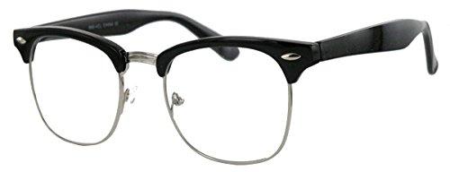 50er Jahre Retro Nerd Brille Halbrahmen Hornbrille Clubmaster Stil Rockabilly Streberbrille (Schwarz...