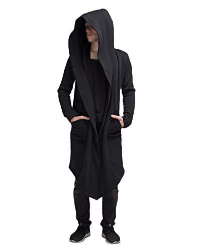 LiangZhu Herren Mantel Mittelalterlichen Jacke Renaissance Formalen Frack Halloween Kostüm Mit Kapuze Strickjacke Schwarz XL