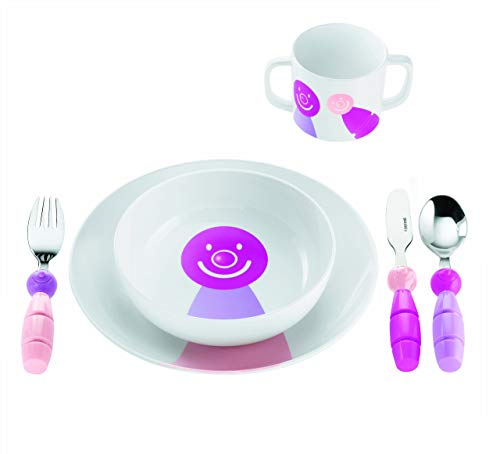 Guzzini Fratelli Bimbi, Service Billo: assiette plate, assiette creuse, verre, couverts, ABS MEL Stainless steel AISI 304 18/10, Stainless steel AISI 410 (knife)