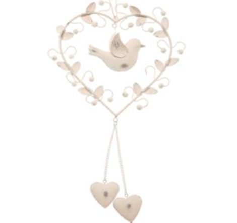 RJB Stone Vintage Hanging Heart Decoration with Bird and Leaves RJB88