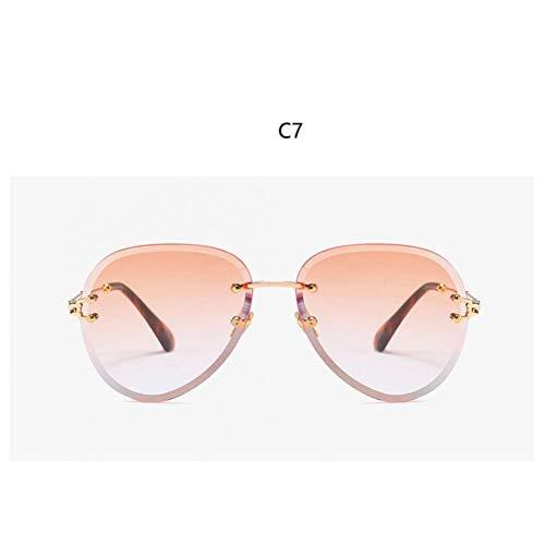 YOGER Sonnenbrillen Vintage Brillen Randlose Sonnenbrillen Frauen Große Klare Ovale Brille Gradient Sonnenbrille Herren Getönte Farbe